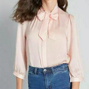 ModCloth Pink Button Down Tie Front HBIC Blouse